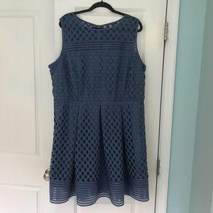 Lane Bryant blue fit n flare dress